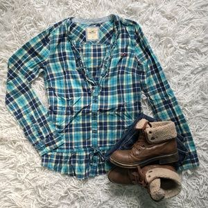Frilly Plaid Hollister Button Down